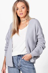 Boohoo Oversized Rib Cropped Cardigan Grey