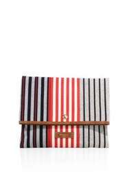 Sonia Rykiel Striped Canvas Foldover Clutch Black Multi
