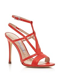Charles David Onia Strappy High Heel Sandals Red