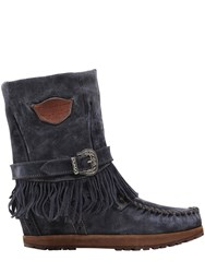 El Vaquero 70Mm Lena Fringed Suede Wedged Boots