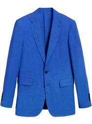 Burberry Soho Fit Linen Tailored Jacket Blue