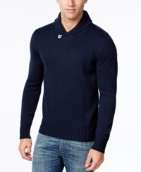Tommy Hilfiger Men's Shane Knit Shawl Collar Sweater Black Iris