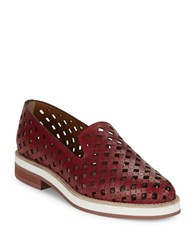 Aquatalia By Marvin K Zanna Perforated Leather Loafers Red