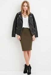 Forever 21 Stretch Knit Pencil Skirt Olive