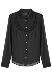 Red Valentino Silk Blouse With Lace Trim Black