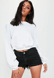 Missguided White Ruched Sleeve Sweatshirt Top