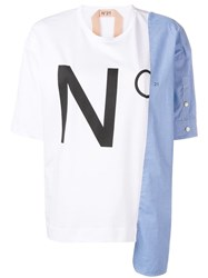 N 21 No21 Cropped Logo Print T Shirt White
