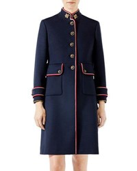 Gucci Wool Coat With Bee Patches Navy