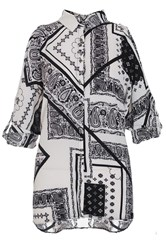 Quiz Tile Print Cold Shoulder Shirt Winter White