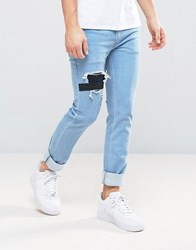 Religion Jeans In Slim Stretch Fit With Rips And Elastic Patch Cadett Wash Grey