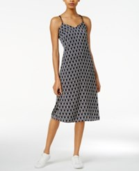 Armani Exchange Printed Crisscross Slip Dress Navy Snow