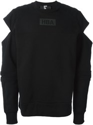 Hood By Air Cut Out Sleeve Sweatshirt Black