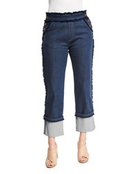 See By Chloe Cuffed Raw Edge Stretch Jeans Dark Navy Women's