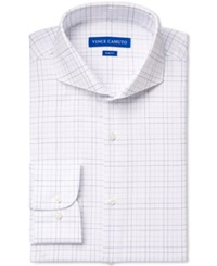Vince Camuto Slim Fit Blue Dobby Graphic Check Dress Shirt