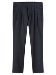 Jigsaw Herringbone Pleated Trousers Indigo