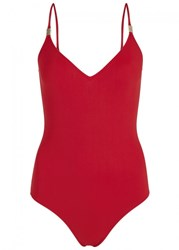 On The Island Red Open Back Swimsuit
