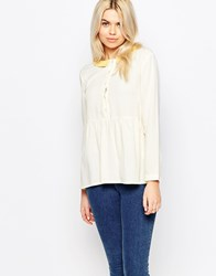 The Whitepepper Contrast Collar Keyhole Smock Top White