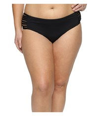 Becca Plus Size Electric Current Hipster Bottoms Black Women's Swimwear