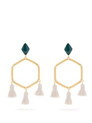Marte Frisnes Cooper Gold Plated Tassel Earrings Green