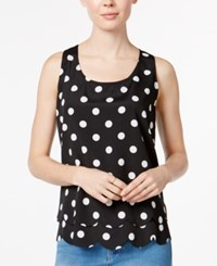 Maison Jules Polka Dot Tiered Cutout Shell Only At Macy's Black Combo