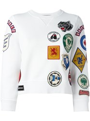 Dsquared2 Patch Three Quarter Sleeved Sweatshirt White