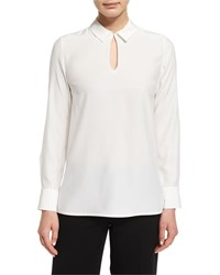 Lafayette 148 New York Shay Long Sleeve Silk Keyhole Blouse Plus Size Cloud