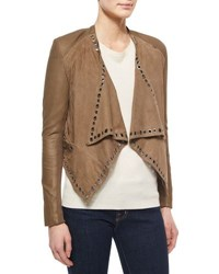 Neiman Marcus Grommet Detail Draped Leather Jacket Taupe