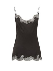 Carine Gilson Lace Trimmed Silk Cami Top Black