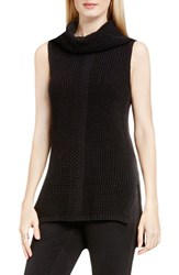 Vince Camuto Women's Two By Sleeveless Cable Stitch Cowl Neck Sweater Rich Black