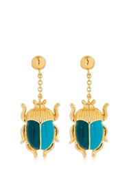 Aurelie Bidermann Elvira Beetle Earrings Gold Blue