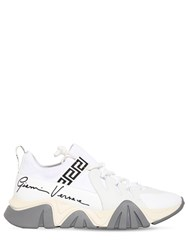 Versace 50Mm Squalo Leather And Knit Sock Sneakers White