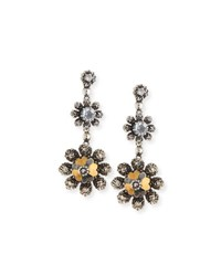 Bottega Veneta Floral Crystal Drop Earrings Silver