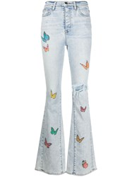 Amiri Butterfly Print Ripped Jeans Blue