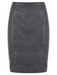 Mint Velvet Leather Pencil Skirt Grey Graphite