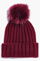 Boohoo Rib Knit Faux Fur Pom Beanie Hat Berry