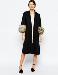Traffic People Great Gatsby Coat With Faux Fur Cuffs Black