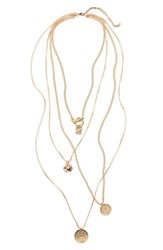 Bp. 4 Layer Flower Disk Necklace Gold