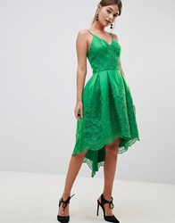 Chi Chi London Premium Lace Dress With Cami Strap Bright Green