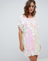 A Star Is Born Embellished Iridescent Tshirt Dress In Iridescent Multi