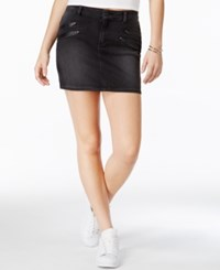 Guess Denim Black Wash Moto Miniskirt Washed Black