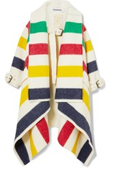 Monse Hudson's Bay Striped Wool Felt Blanket Coat Ivory