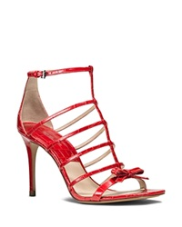 Michael Kors Ankle Strap Sandals Blythe Caged Croc Embossed High Heel Crimson