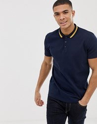 Selected Homme Polo Shirt With Tipping Collar Navy