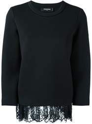 Dsquared2 Loose Draped Lace Jumper Black