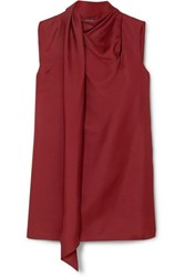 Ann Demeulemeester Draped Wool And Silk Blend Tank Red
