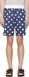 Msgm Blue And White Polka Dot Shorts