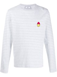 Ami Alexandre Mattiussi Paris Long Sleeved Striped Tee Shirt With Smiley Patch 60