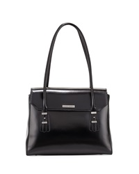 Charles Jourdan Maine Flap Top Leather Shoulder Bag Black