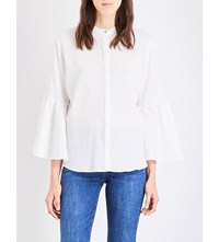 Mih Jeans Goldie Pleated Cotton Gauze Shirt White
