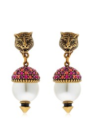 Gucci Faux Pearls And Crystal Earrings
